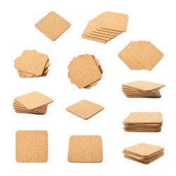 Square cork textured coaster for the drinks, composition isolated over the white background, set of multiple different foreshortenings and compositions