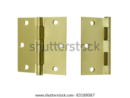 square corner brass butt hinges, open and closed on a white background