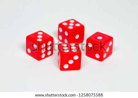 square dice in red on a white background #1258075588