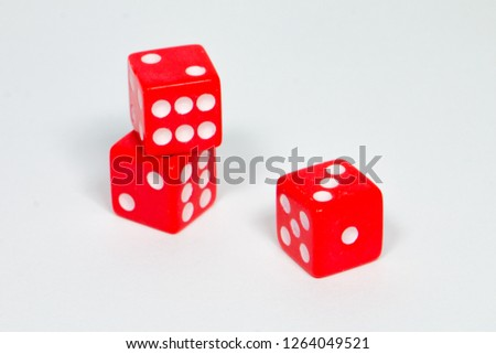 square dice in red on a white background #1264049521