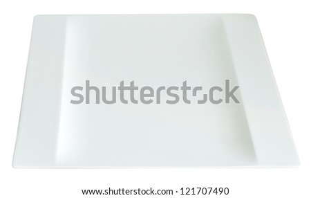 square empty plate isolated on white