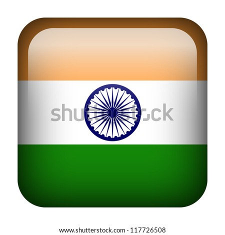Square flag button series - India