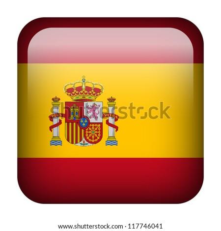 Square flag button series - Spain - stock photo