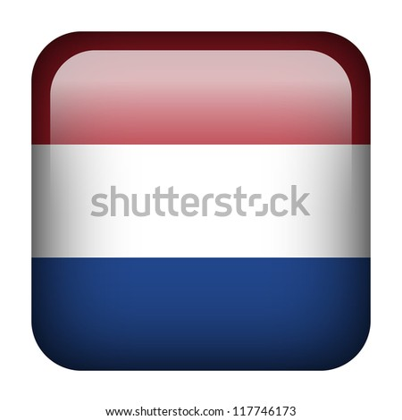 Square flag button series - The Netherlands