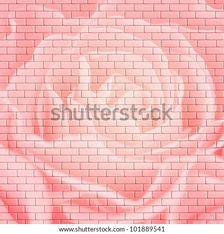 Square flower brick wall background