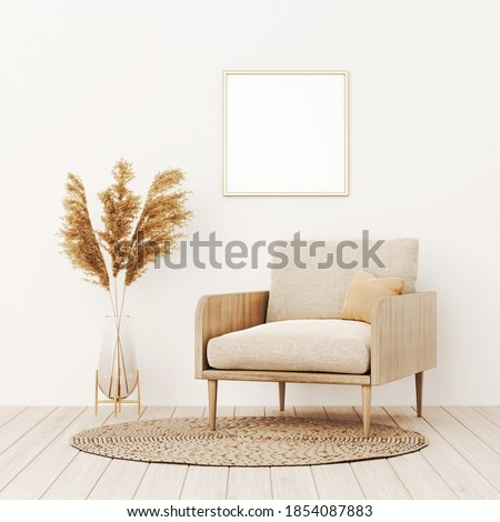 Square frame mockup in warm living room interior with beige armchair, pillow, wicker rug, dried Pampas grass and boho style decoration on empty wall background. 3D rendering, illustration Photo stock ©