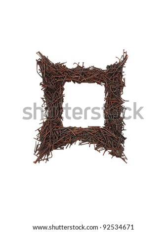 square frame rusted nails isolated