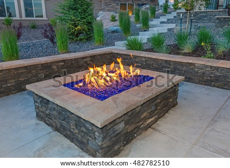Square Gas Fire Pit with Colored glass