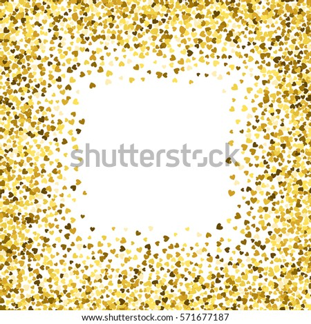 square gold frame or border of random scatter hearts design element for festive banner