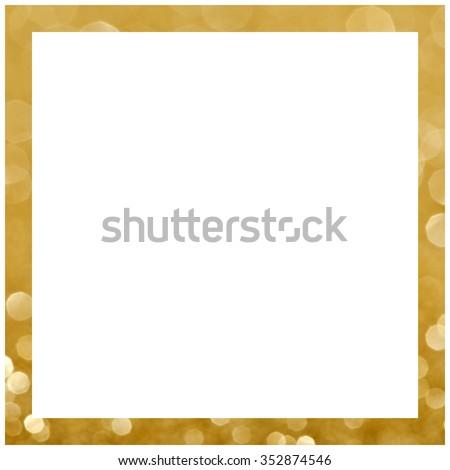 Square golden frame. Golden textured border..
