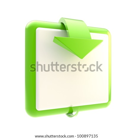 Square green button with glossy arrow isolated on white