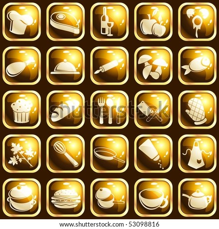 Square high-gloss food icons (JPG); vector version also available