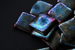 Square high-purity bismuth fragments and black background