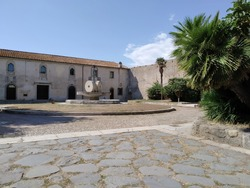 Square in Santa Severa Castle,The main square in the Cerveteri medieval village is used for exchange and trading. Agricultural products,livestock, seafood And a warehouse.important seaports of Etruria