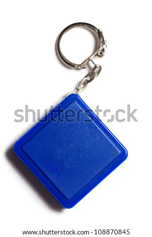 Square label with metal key ring