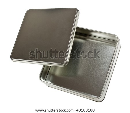 Square metal container with lid isolated on white background