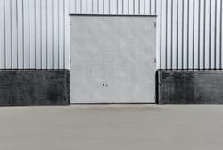Square metal hangar door silver color