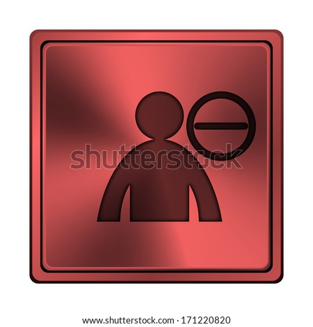 Square metallic icon with carved design on red background - stock photo