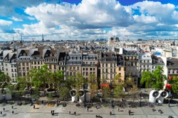Square of Georges Pompidou and cityscape of Paris France from above