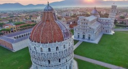 Square of Miracles, Pisa, Tuscany. Aerial view on a beautiful summer morning.