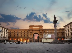 Square of Republic in Florence at sunrise, Italy