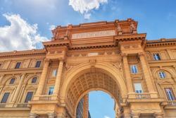 Square of Republic (Piazza della Repubblica).Piazza della Repubblica marks the site of the forum, the centre of the Roman city. Italy.