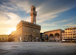 Square of Signoria in Florence at sunrise, Italy.
