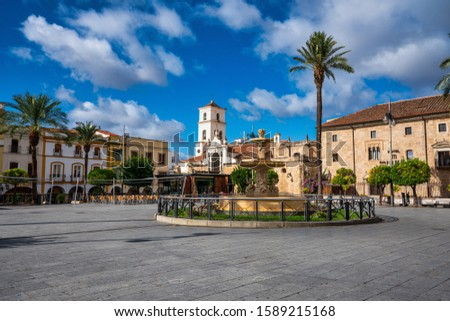 Square of Spain, Plaza de Espana with the Town Hall at background . Merida is the administrative capital of Extremadura, Spain