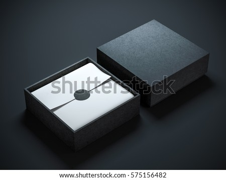 Square opened Black Box with wrapping paper and label. 3d rendering