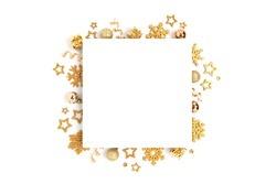 Square paper card mockup with frame made of golden Christmas decorations and confetti. Festive template on a white background.