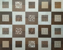 square pattern design of digital wall tile with rough texture.