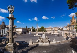 Square Piazza del Popolo in Rome Italy - architecture background