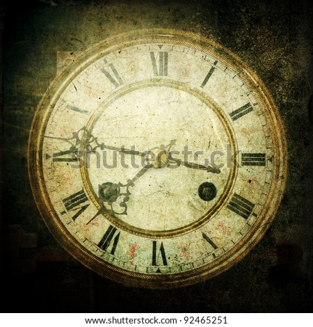 square picture of an grunge textured antique clock