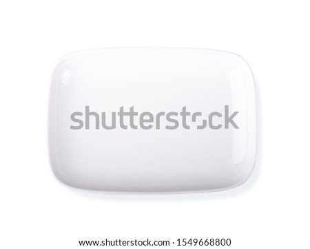 square plate ,top view on white background