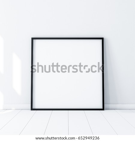 Square Poster with Black Frame Mockup standing on the floor in white room. 3d rendering