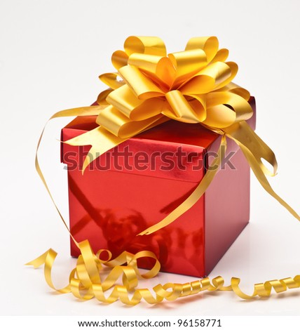square red gift box with gift ribbon isolated on white yellow