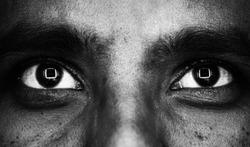 Square reflection on eye