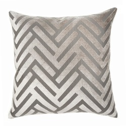 Square Shape Chevron Throw Pillow Isolated on White. Plush Decorative Stitched Cushion with Feather Fill & Zipper Upholstered Zinc Polyester. Snug Lush Toss Pillow Front View. Interior Decoration