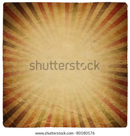 Square shaped sunburst ornated paper sheet. Isolated on white.