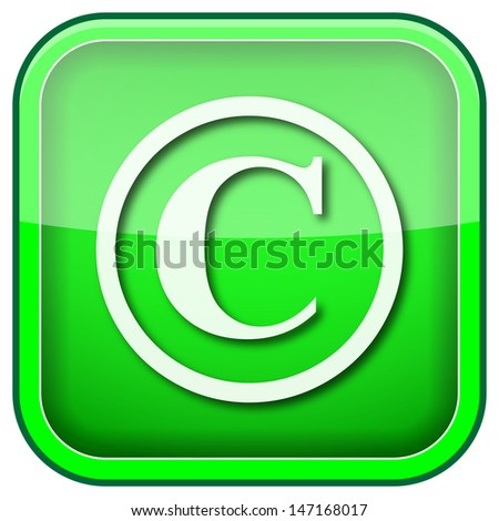 Square shiny icon with white design on green background