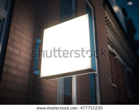 Square signboard on the building at night. 3d rendering