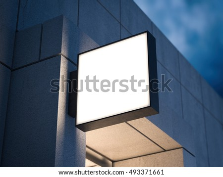 Square signboard on the concrete building at night. 3d rendering