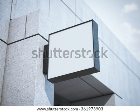 Square signboard on the office building. 3d rendering