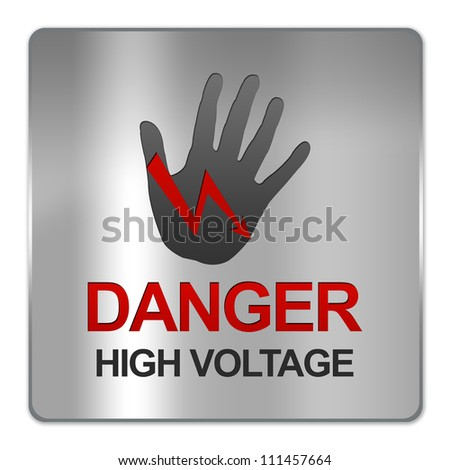 Square Silver Metallic Plate For Danger High Voltage Sign Isolate on White Background - stock photo