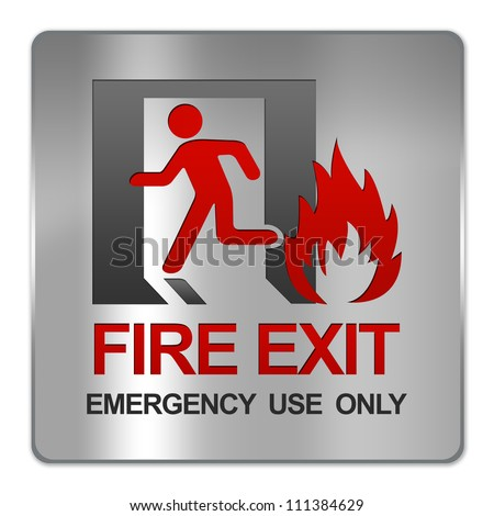 Square Silver Metallic Plate For Fire Exit Emergency Use Only Sign Isolate on White Background