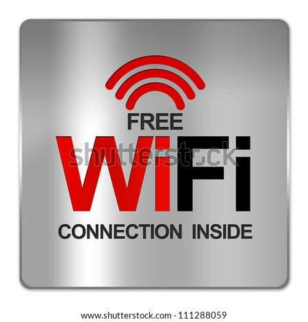 Square Silver Metallic Plate For Free Wifi Connection Inside Isolate on White Background - stock photo
