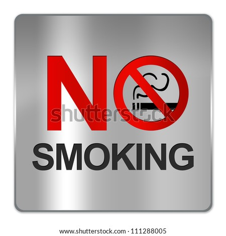 Square Silver Metallic Plate For No Smoking Sign Isolate on White Background - stock photo