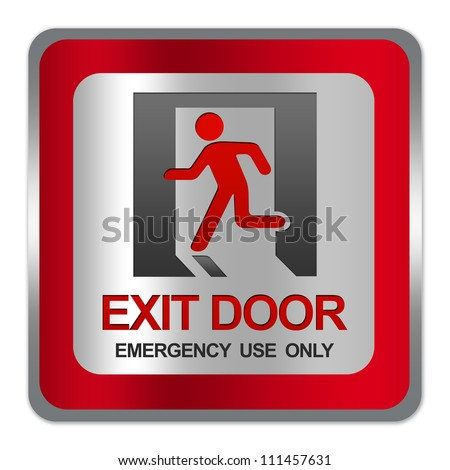 Square Silver Metallic With Red Border Plate For Exit Door Emergency Use Only Sign Isolate on White Background