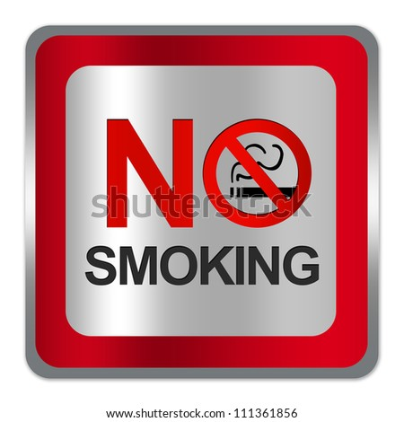 Square Silver Metallic With Red Border Plate For No Smoking Sign Isolated on White Background