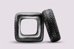 square tire wheel, wrong or damaged damaged tire, fake. A funny isolate, there is a solid studded tire, a concept or an idea next to it